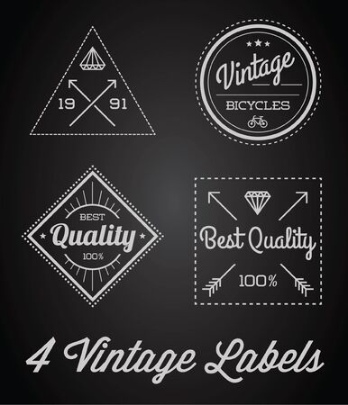 old square: Set of 4 of Vintage Retro Style Premium Design Labels Black and White Illustration