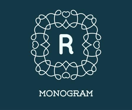 Monogram Design Template with Letter R Illustration Premium Elegant Quality