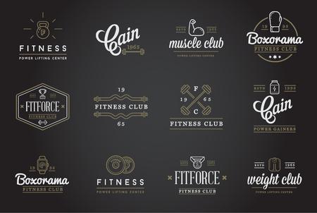 健身: 一套健身健美操健身元素和健身圖標插圖