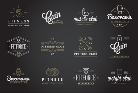 barbell: Set of Fitness Aerobics Gym Elements and Fitness Icons Illustration