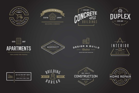 house renovation: Set of Construction Building Icons Illustration