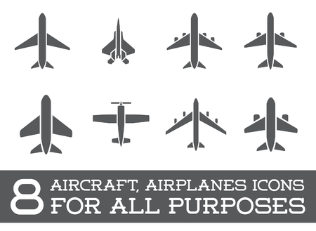 airplane: Aircraft or Airplane Icons Set Collection Silhouette