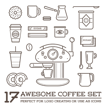 Set of Coffee Elements and Coffee Accessories Illustration Vectores