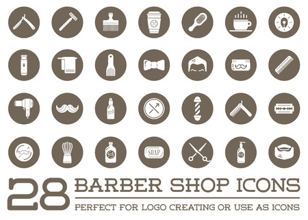 Set of Barber Shop Elements and Shave Shop Icons Illustration Çizim