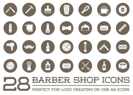Set of Barber Shop Elements and Shave Shop Icons Illustration
