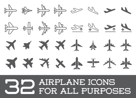 navigation pictogram: Aircraft or Airplane Icons Set Collection Illustration