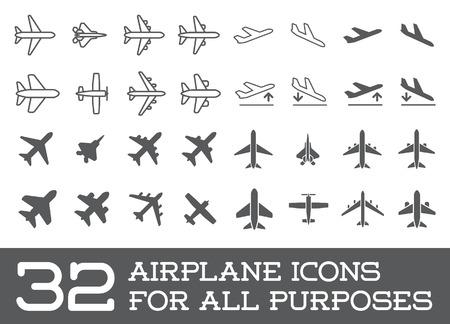 mosca: Avión o aeroplano Colección de conjunto de iconos