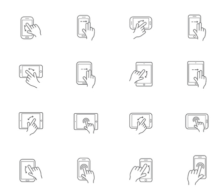 double tap: Set of Icons with Hands Holding Smart Device with Gestures Illustration