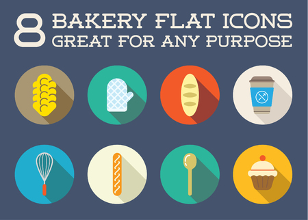cafe shop: Set of Bakery Pastry Elements and Bread Icons Illustration