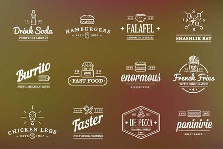 fast: Set of Fastfood Fast Food Elements Icons and Equipment Illustration