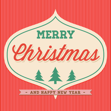 old style lettering: Merry Christmas Hand Lettering Typographical Vector Background Card in Vintage Retro Old Style