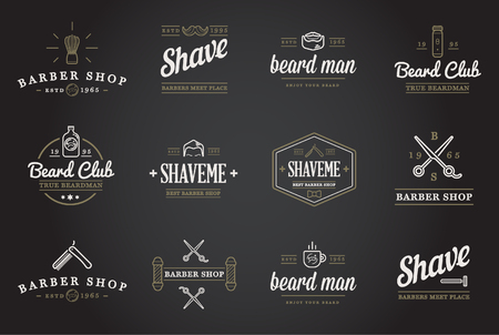 barber shave: Set of Barber Shop Elements