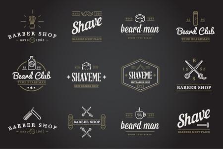shop sign: Set of Barber Shop Elements