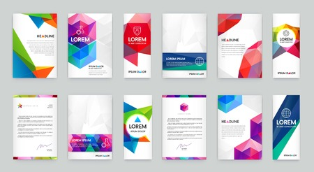 Set of Visual identity with letter elements polygonal style Illustration