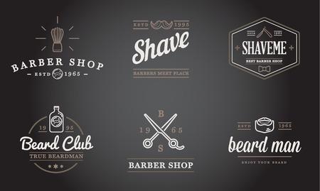 barbershop pole: Set of Barber Shop Elements and Shave Shop Icons Illustration Illustration