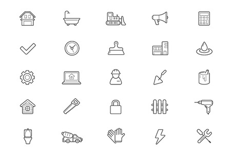 thin bulb: Set of Construction Building Icons. Illustration