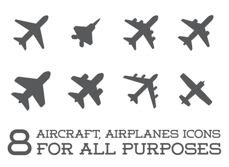 avion chasse: Aéronef ou avion Icons Set Collection Silhouette