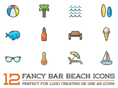 beach ball: Set of Beach Sea Bar Flat Icons Elements