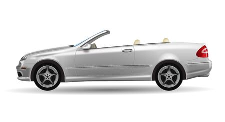 tuned: Classic convertible on white background Illustration