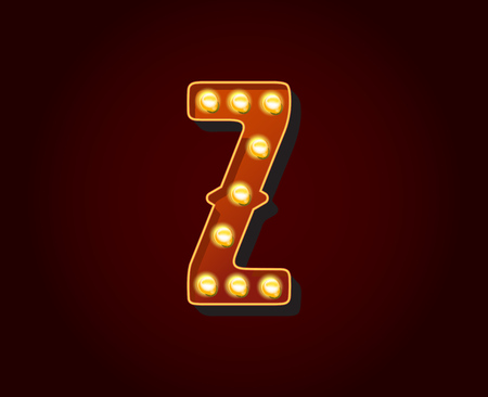 show case: Casino or Broadway Signs style light bulb Alphabet Letter Character Z