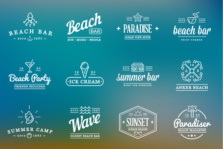 Set of Beach Sea Bar Elements