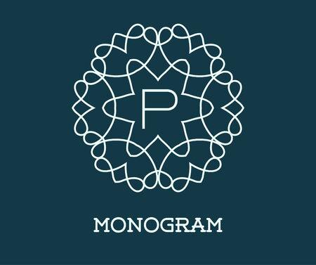 p illustration: Monogram Design Template with Letter P Illustration Premium Elegant Quality Illustration