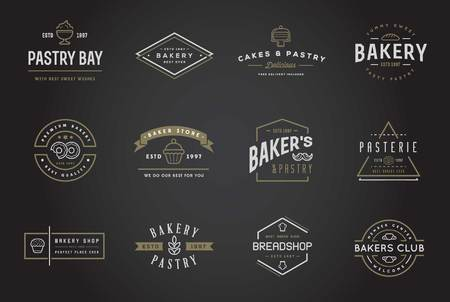 coffee and cake: Set of Bakery Pastry Elements and Bread Icons Illustration