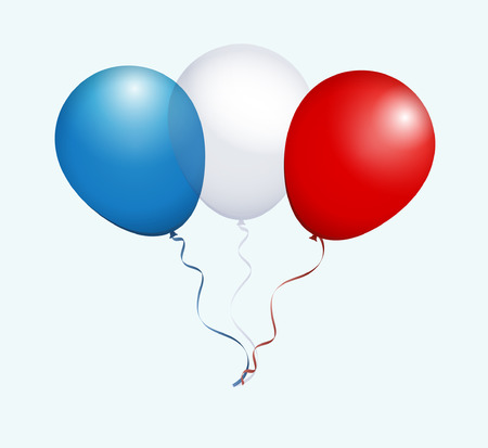 red balloons: Balloons in Blue White Red as France National Flag Illustration