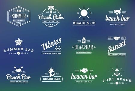 bar drinks: Set of Beach Sea Bar Elements
