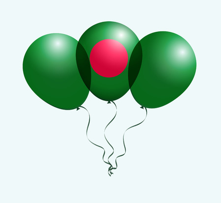 flotation: Balloons in White Red as Bangladesh National Flag