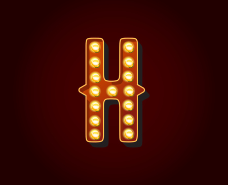 show case: Casino or Broadway Signs style light bulb Alphabet Letter Character H