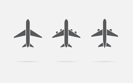 航空機または飛行機アイコン セットのコレクションのシルエット