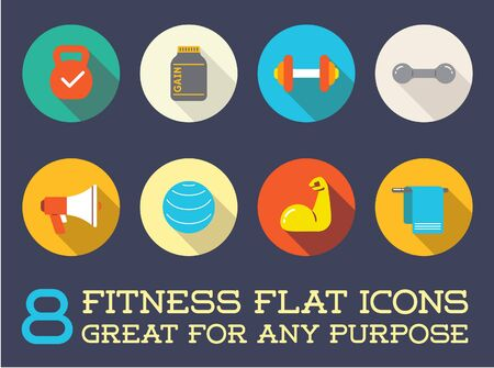 gainer: Set of Fitness Aerobics Gym Elements and Fitness Icons Illustration