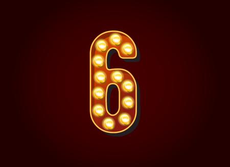 Casinò o Broadway Segni lampadina stile Digits I numeri di carattere 6 Vettoriali