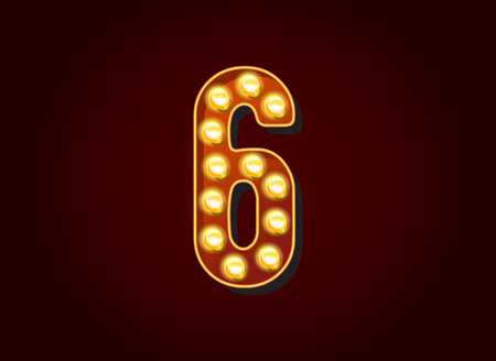 six objects: Casino or Broadway Signs style light bulb Digits Numbers Character 6