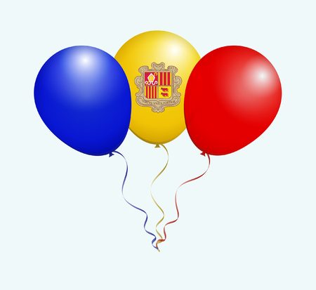 flotation: Balloons in Blue Yellow Red as Andorra National Flag