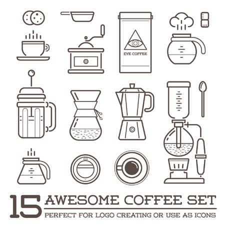 maquina de vapor: Conjunto de elementos del café y accesorios de café Ilustración