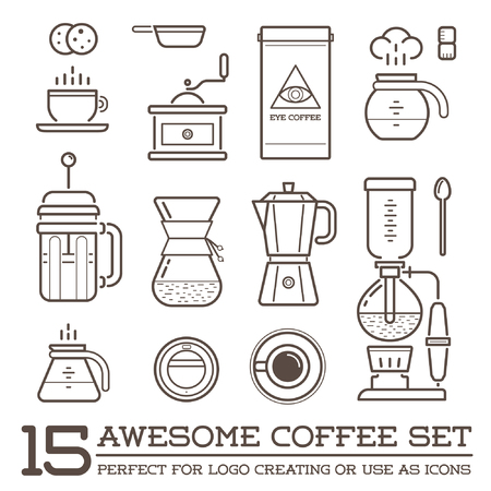 Set of Coffee Elements and Coffee Accessories Illustration Çizim