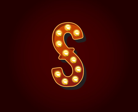 show case: Casino or Broadway Signs style light bulb Alphabet Letter Character S Illustration
