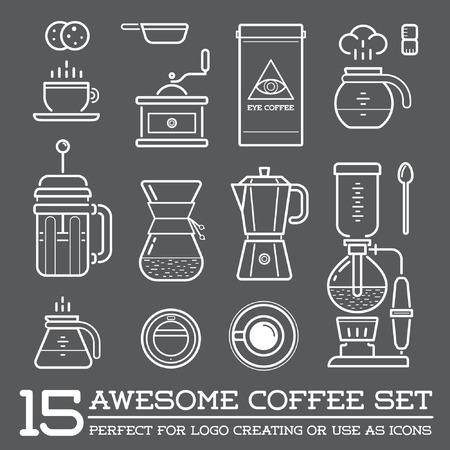 latte coffee: Set of Coffee Elements and Coffee Accessories Illustration Illustration