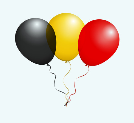red flag up: Balloons in Black Yellow Red as Belgium National Flag Illustration