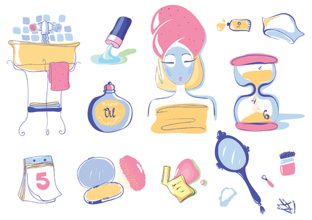 clay mask: Illustration Set of 10 Health and Beauty Objects