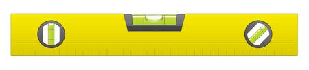 Gelb Metall Wasserwaage auf weißem Hintergrund isoliert Vektorgrafik