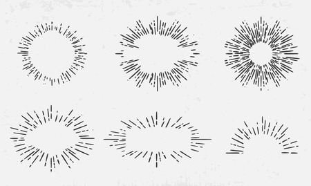 starburst: Sun burst vintage shapes collection set of sun ray frames retro design elements