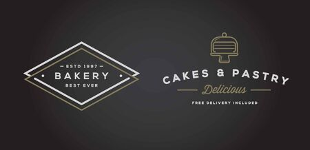 vintage label: Set of Bakery Pastry Elements and Bread Icons Illustration