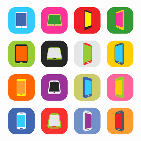 Abstract Colorful Minimal Style Modern Mobile Smartphone and Tablet Icon Set Illustration