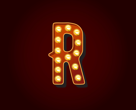 alphabetic character: Casino or Broadway Signs style light bulb Alphabet Letter Character R