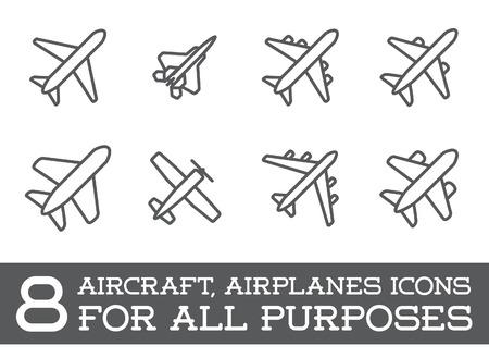 航空機または飛行機アイコン セットのコレクション