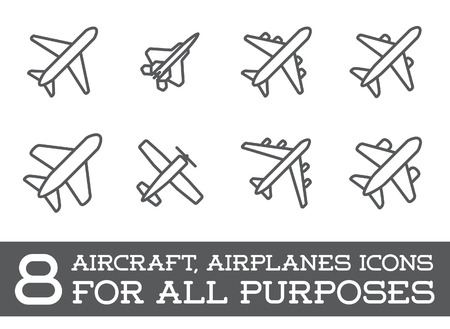 Aircraft or Airplane Icons Set Collection Vectores