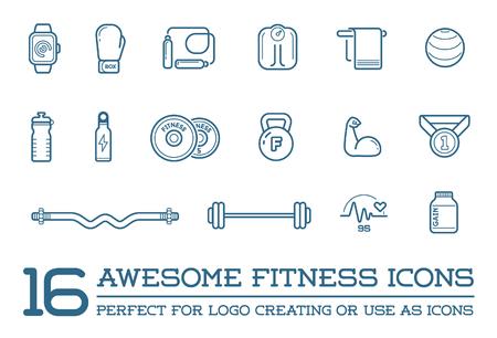 icono deportes: Conjunto de fitness Aerobic Gimnasio Elementos y Física Iconos Ilustración Vectores